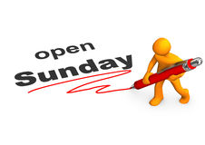 Mannequin Ballpen dimanche ouvert Illustration Stock