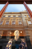 Mannequin behind thw window. Riga, Latvia. Stock Photo