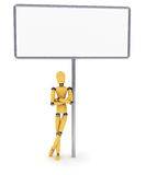 Mannequin with big sign Royalty Free Stock Images