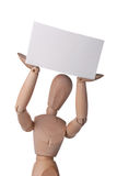 Mannequin with blank card Stock Images