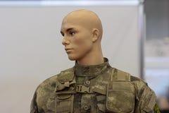 Mannequin in camouflage uniforms infantryman closeup Stock Image