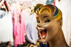 Mannequin with a creepy smile at the weekend market, Phuket, Thailand stock image