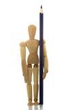 Mannequin die zich met potlood bevindt Royalty-vrije Stock Afbeeldingen