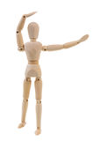 Mannequin doing aerobics exercise. Wooden mannequin doing aerobics exercise isolated on white background royalty free stock image