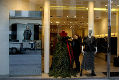 MANNEQUIN DRESS AS CHRISTMAS TREE Royalty Free Stock Photo