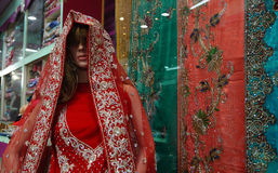 Mannequin dressed in Indian dress or saris kept in front of retail shop or stores Stock Photo