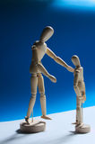 Mannequin dummy father and son talking. Royalty Free Stock Image