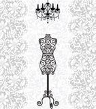 Mannequin e lampadario a bracci sulla priorità bassa del merletto illustrazione di stock