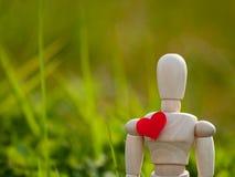 Mannequin en bois avec un coeur rouge sur son concept de coffre de romantisme et d'amour Photos stock