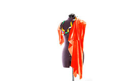 Mannequin with fabric and ribbon Stock Images