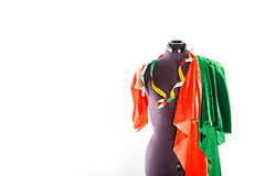 Mannequin with fabric and ribbon Stock Image