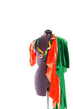 Mannequin with fabric and ribbon Royalty Free Stock Image