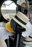 The hats exposition. Mannequin face and exposition hats Stock Images