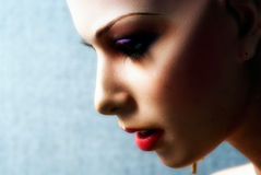 Mannequin Face Profile. Close-up photo of a mannequin's face in profile, wearing make-up royalty free stock photography