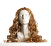 Mannequin Female Head with Wig. On White Stock Photo