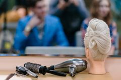 Mannequin For Hairdresser Training Royalty Free Stock Photos