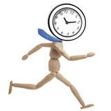 Mannequin-Geschäftsmann Deadline Clock Running lokalisierte Stockfoto