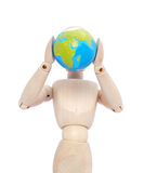 Mannequin with globe on head Royalty Free Stock Photography