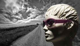 Mannequin and gravel road Stock Photography