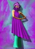Mannequin habillé dans une robe pourpre Image libre de droits