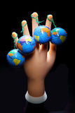 Mannequin Hand and Globes Stock Photography
