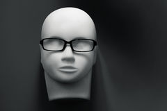 Mannequin head with black eyeglasses on background Royalty Free Stock Image