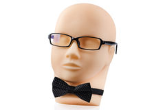 Mannequin head with black eyeglasses Royalty Free Stock Photos