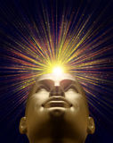 Mannequin head with an explosion of light above Stock Image