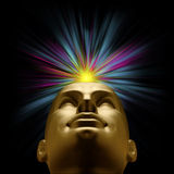 Mannequin head with explosion of light above Royalty Free Stock Photo