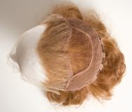 Mannequin Head with Foundation of Wig. From Above Stock Photo