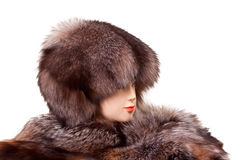 Mannequin head wearing fur hat and collar Royalty Free Stock Images