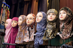 Mannequin heads. With traditional muslim scarfs in Jerusalem Royalty Free Stock Image