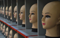 Mannequin heads lined-up Royalty Free Stock Photos