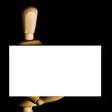 Mannequin holding business card Royalty Free Stock Photography