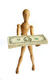 Mannequin holding money Stock Images