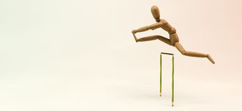 Mannequin Hurdles. 3D image of a wooden mannequin jumping over a pencil-made hurdle Stock Photo