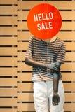 Mannequin kündigt Verkauf an Stockfotos
