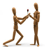 Mannequin Love. 3D image of a wooden mannequin giving a flower to its beloved one Royalty Free Stock Photography