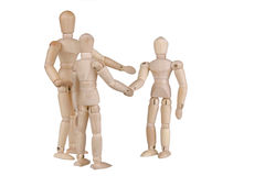 Mannequin Meeting. Wooden people meeting; greeting; and introducing. Isolated on white. Conceptual for friendship, partnership; business networking, etc royalty free stock image