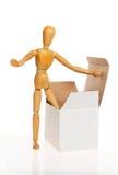 Mannequin met een doos Stock Fotografie