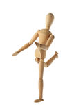 Mannequin old wooden dummy acting about soccer isolated. On white background Royalty Free Stock Photo