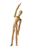 Mannequin old wooden dummy exercise acting isolated on white Stock Photography