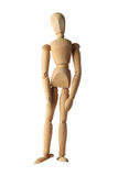 Mannequin old wooden dummy feeling sad isolated on white Royalty Free Stock Image