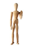 Mannequin old wooden dummy similar monk stop acting isolated. Background royalty free stock photo