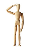 Mannequin old wooden dummy similar respect of police isolated. On white background stock photos