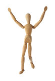 Mannequin old wooden dummy winning and finish acting isolated. On white background Royalty Free Stock Photography