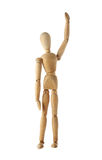 Mannequin old wooden dummy winning and finish acting isolated. On white background Royalty Free Stock Images