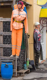 Mannequin in orange overalls Royalty Free Stock Images