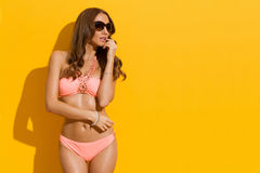 Mannequin In Pink Bikini tegen Sunny Wall Royalty-vrije Stock Afbeeldingen