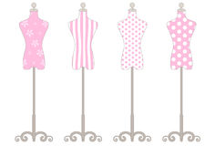 Mannequin Pink Collection. 4 pink mannequins in pastel shade Vector Illustration